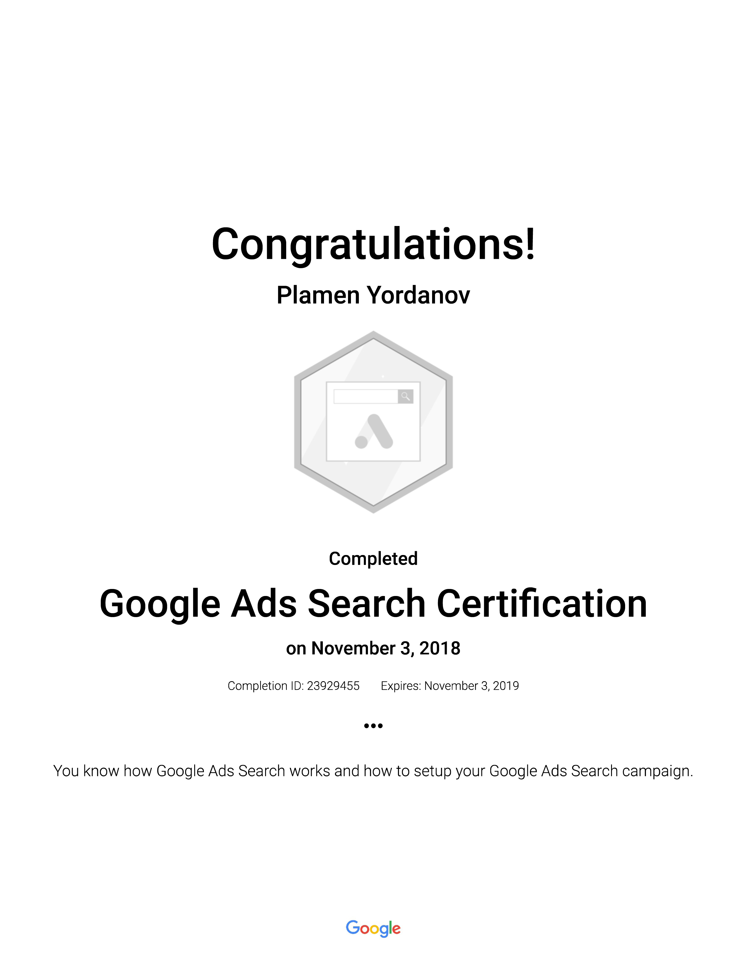 Plamen Yordanov Google Ads Search Sertification